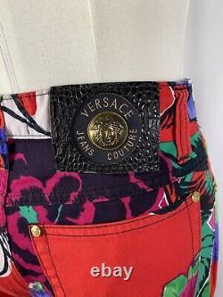 Rare Vtg Gianni Versace Jeans Couture Pantalon Floral Rouge S