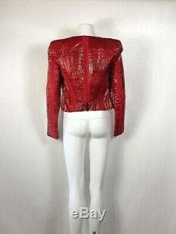 Rare Vtg Gianni Versace Red Eel Veste En Cuir S 40