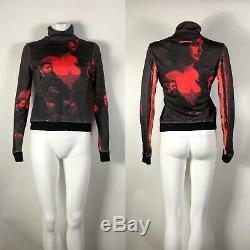 Rare Vtg Jean Paul Gaultier Noir Portrait Rouge Imprimer Top S