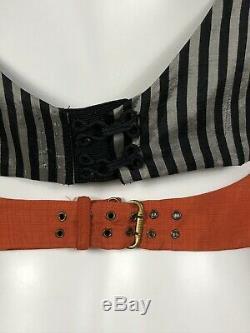 Rare Vtg Jean Paul Gaultier Rayé Rouge Crop Top S