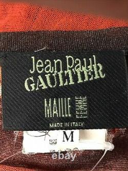 Rare Vtg Jean Paul Gaultier Red Rose Imprimer Mesh Top M