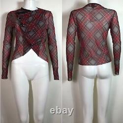 Rare Vtg Jean Paul Gaultier Red Tartan Sheer Mesh Crop Top S