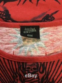 Rare Vtg Jean Paul Gaultier Red'safe Sex ' Imprimer Top S