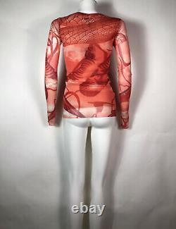 Rare Vtg Jean Paul Gaultier Rouge Imprimé Mesh Top S