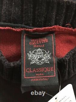 Rare Vtg Jean Paul Gaultier Rouge Noir Sheer Script Mesh Top S