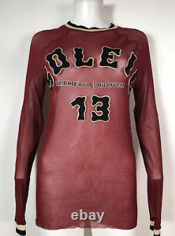 Rare Vtg Jean Paul Gaultier Soleil Rouge Imprimé Logo Sheer Mesh Top L