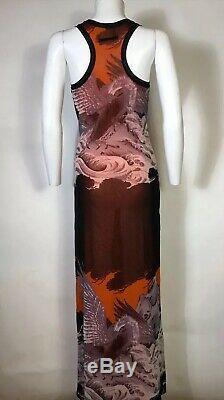 Rare Vtg Jean Paul Gaultier Soleil Rouge Orange Phoenix Imprimer Robe Maille S