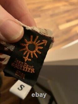 Rare Vtg Jean Paul Gaultier Soleil Sans Manches Mesh Noir Blanc Blouse Rouge Petite