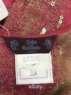 Rare Vtg John Galliano Robe De Paillette À Maille Rouge M Ss2001