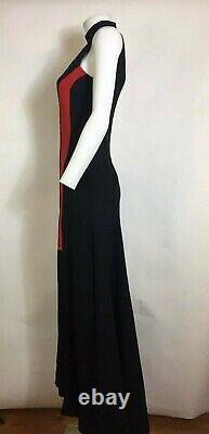 Rare Vtg Versace Noir & Rouge Fente Maxi Robe Xs 38