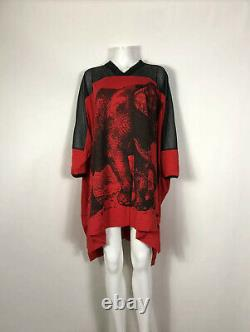 Rare Vtg Vivienne Westwood Anglomania Oversized Red Elephant Print Top Dress Os