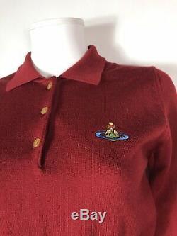 Rare Vtg Vivienne Westwood Red Orb Logo Top En Maille S