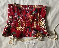 Robe Dolce Vintage Et Gabbana Rouge Floral Corseted Taille 10 Uk 44 Italien