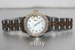 Rolex 6917 En Or 18 Carats Deux Tons Datejust Montre Femme Avec Cadran Personnalisé Bezel