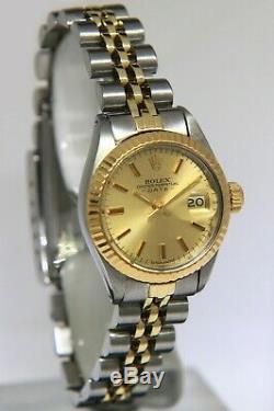 Rolex Date De 14k Or Jaune Et Acier Cadran Champagne Mesdames 26mm Montre 6917