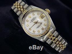 Rolex Datejust 2tone 14k Montre En Or Jaune En Acier Blanc Mop Diamant 6917