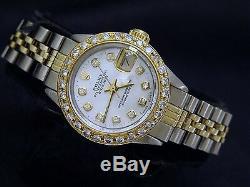 Rolex Datejust 2tone 14k Or Montre En Acier Blanc Mop Diamond Dial Et Lunette