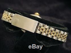 Rolex Datejust 2tone Or 14k & Montre En Acier Champagne Diamond Dial 6917