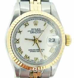 Rolex Datejust 2tone Or Jaune 18 Carats Et Cadran Blanc Montre En Acier Roman 69173