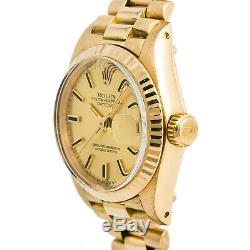 Rolex Datejust 6917 Président Femmes Montre Automatique Champagne En Or 18 Carats 26mm