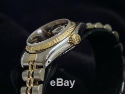 Rolex Datejust Deux Tons Or 18 Carats Et Montre En Acier Noir Tapisserie Dial 69173