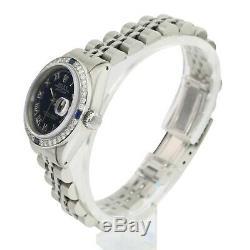 Rolex Datejust En Acier Femmes Bleu Roman Dial Diamond Bezel 26mm Jubilee Band