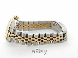Rolex Datejust En Or 14k 2tone Montre En Acier Inoxydable De Diamant D'argent 6917