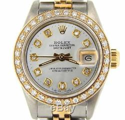 Rolex Datejust En Or 18 Carats Et 2tone Montre En Acier À Diamant Blanc Mop 69173
