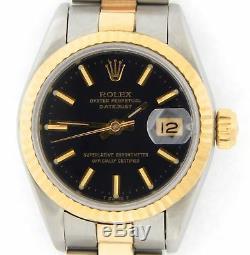 Rolex Datejust En Or Jaune 18 Carats 2tone Montre En Acier Oyster Cadran Noir 69173