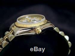 Rolex Datejust En Or Jaune 18 Carats Et Montre En Acier Blanc Mop Diamond Dial 69173