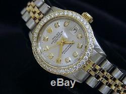 Rolex Datejust Lady 14k Montre En Or Jaune Et Acier Argenté Diamond Dial Lunette 1ct