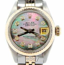 Rolex Datejust Lady 2tone 14k Gold & Montre En Acier Tahiti Mop Dial Diamond 6917