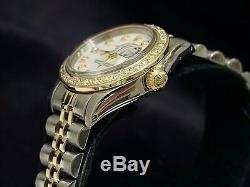 Rolex Datejust Lady 2tone 14k Or Montre En Acier Avec Blanc Mop Diamond Dial Et Lunette