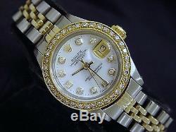 Rolex Datejust Lady 2tone Or 14k Montre En Acier Blanc Mop Avec Diamond Dial Et Lunette