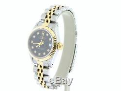 Rolex Datejust Lady 2tone Or Jaune 18 Carats Et Acier Montre Black Diamond Dial 69173