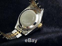 Rolex Datejust Lady 2tone Or Jaune 18 Carats Et Acier Montre Roman Pyramid Dial 69173