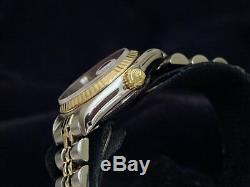 Rolex Datejust Lady 2tone Or Jaune 18 Carats Montre En Acier Blanc Diamond Dial 69173