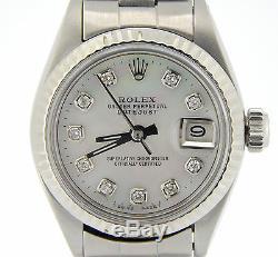 Rolex Datejust Lady En Acier Inoxydable / 18k Or Blanc Nacre Blanche Diamant