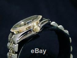 Rolex Datejust Lady En Or Jaune 14k & Montre En Acier Avec Blue Diamond Dial 1ct Bezel