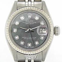 Rolex Datejust Lady Montre En Acier Inoxydable Black Or Blanc Mop Diamant 6917