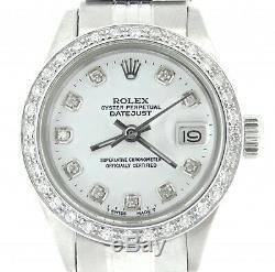 Rolex Datejust Lady Montre En Acier Inoxydable Jubilé Blanc Diamant Cadran. 70ct Bezel