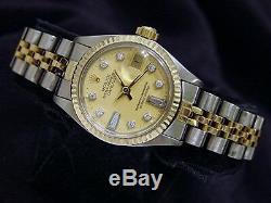 Rolex Datejust Lady Or Jaune 14k Montre En Acier Inoxydable Champagne Diamant 6917