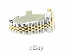 Rolex Datejust Lady Or Jaune 18 Carats Et Acier Montre Diamond Dial Lunette Noire 69173