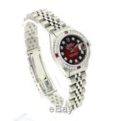 Rolex Datejust Lady Ss Rouge Vignette Diamond Dial Lunette Sertie De Diamants 26mm Montre