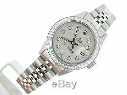 Rolex Datejust Montre En Acier Inoxydable Avec Silver Diamond Dial &. 70ct Bezel