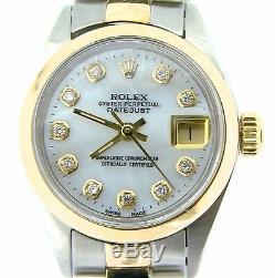 Rolex Datejust Montre En Or Jaune Et Acier Blanc Mop Diamond Dial 6917