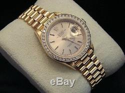 Rolex Datejust Président Mesdames Massif 18k Montre En Or Jaune Diamond Bezel 69178