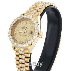 Rolex En Or 18 Carats Président 26mm Datejust 69178 Vs Champagne Diamant Montre 4,46 Ct
