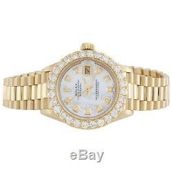 Rolex En Or 18 Carats Président 26mm Datejust 69178 Vs White Diamond Mop Montre 2,08 Ct
