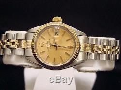 Rolex Femme Date 2tone 14k Or Jaune Montre En Acier Jubilee Band Champagne